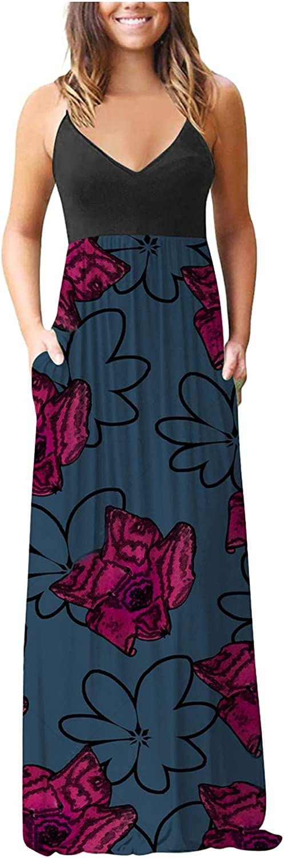 Tavorpt Summer Dresses for Women Maxi Sleeveless Sexy Floral Printed Casual Sundress Beach Party Split Cami Long Dress