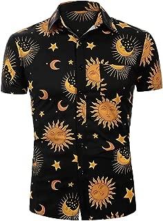 Men's Shirt Fashion Sun and Moon Star Pattern Print Lapel Short Sleeve Top Summer Slim Loose Hawaiian T-Shirt Tops