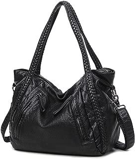 Mn&Sue Black Large Slouchy Soft Leather Women Handbag Braided Shoulder Tote Bag Crossbody Satchel
