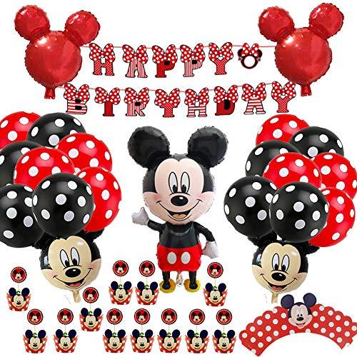 Mickey Mouse Themed Decoraciones de Fiesta,54 pcs Banner de Happy Birthday Adorno de Pastel Globos de lunares para Fiestas de Cumpleaños Decoraciones de Mickey Mouse