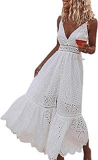 Women's Embroidery Pearl Button Down Dress V Neck Spaghetti Strap Maxi Dress