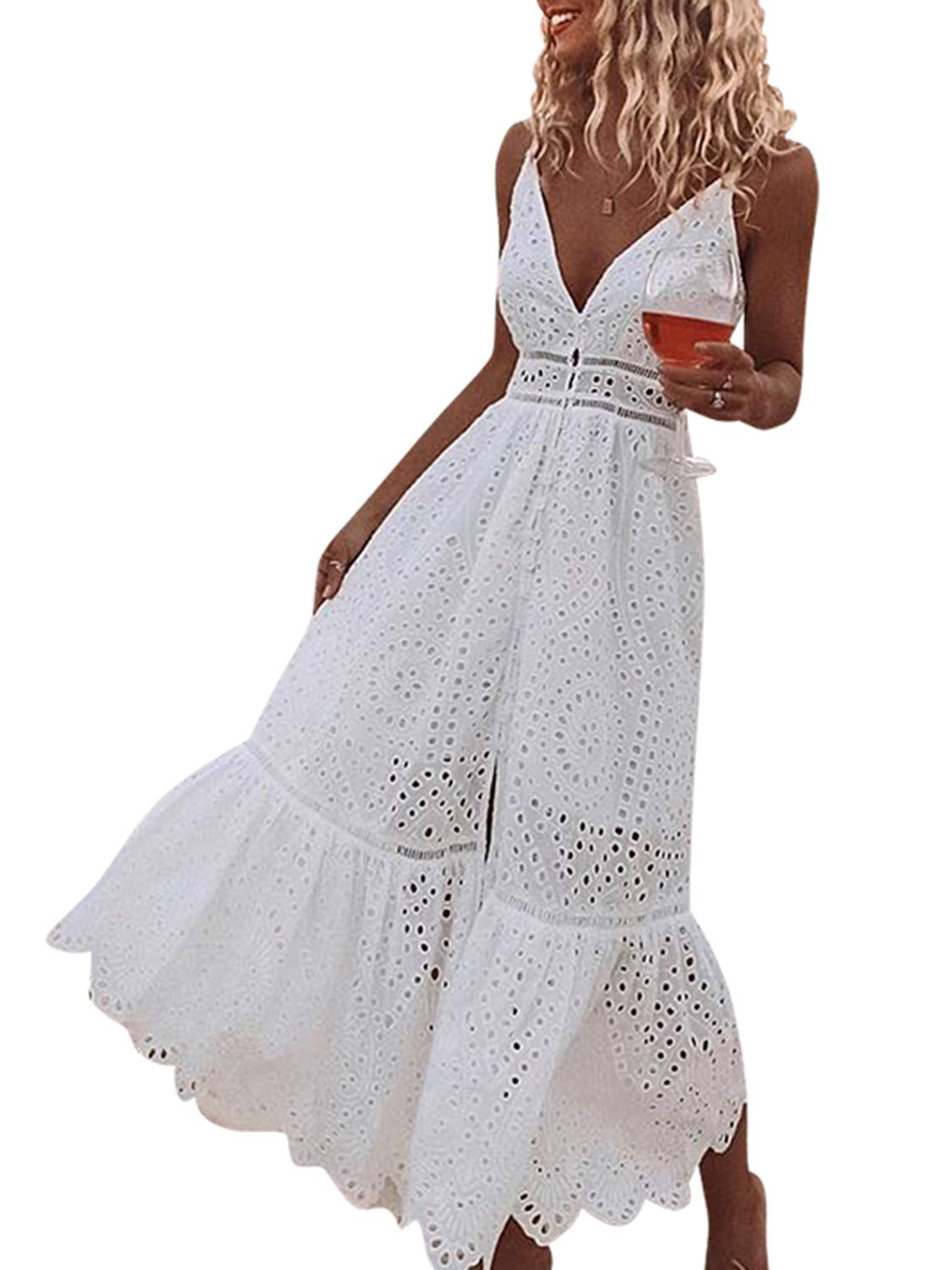 White Dress - Women's Summer Sexy One Shoulder Ruffle Bodycon Midi Cocktail Dress