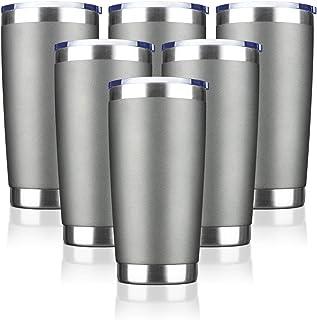 EcoMozz 20oz Tumbler Stainless Steel Vacuum Insulated Mug with Lid, Double Wall Travel Mug, Durable Powder Coated Coffee C...