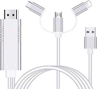 Telefono a HDMI,Ozvavzk Phone a HDMI Cable Convertidor 3 en 1 USB/Tipo C/Flash a HDMI 1080P Adaptador AV Digital Cable Com...