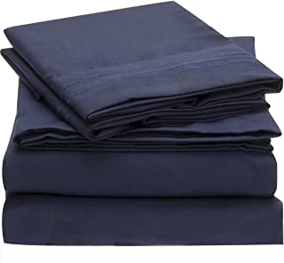 Mellanni Bed Sheet Set - Brushed Microfiber 1800 Bedding - Wrinkle, Fade, Stain Resistant - Hypoallergenic - 4 Piece (Queen, Royal Blue)