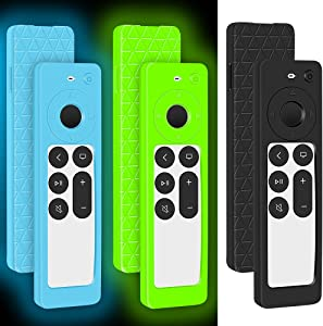 [3Pack]Silicone Protective Case Covers for 2021New Apple TV Siri Remote,for Apple TV 4K HD (2nd Generation) Remote Replacement Shockproof Battery Back Covers Case Holder Skin-Glowblue Glowgreen Black