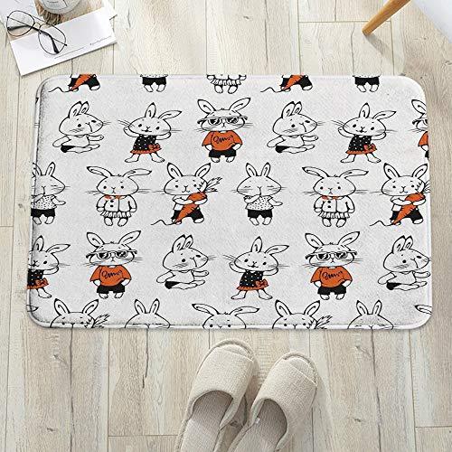 Alfombrilla de baño antideslizante, para baño o ducha,Divertido, lindo conejito retro conejos con disfraces Jack Har, alfombra de suelo absorbente, para sala de estar, sofá, cojín, caucho, 60 x 100 cm