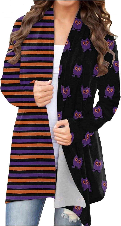 Masbird Halloween Cardigan for Women, Womens Cute Tops Pumpkin Ghost Graphic Long Sleeve Open Front Lightweight Coat