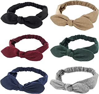 Carede Stretchy Bunny ears Headbands Crochet Cotton Hair Accessories Women Head Wraps Turban Bow Knotted Hairband,Pack of 6