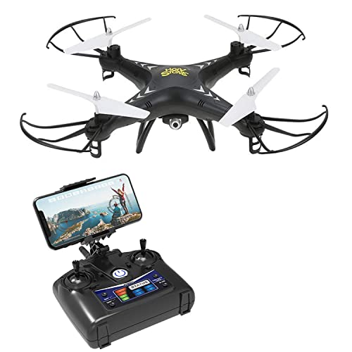 Holy Stone HS110 FPV RC Drone with Camera 720P HD Live Video WiFi 2.4GHz 4CH 6-Axis Gyro RC Quadcopter with Altitude Hold, One Key Return and Headless Mode Function RTF, Color Black