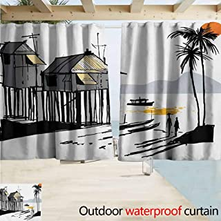 AndyTours Thermal Insulated Blackout Curtain,Coastal Sketchy Fishing Village Malay in Singapore with Houses Canoe Palms Sun Print,Darkening Curtains/Panels/Drapes,W72x63L Inches Black Grey Orange