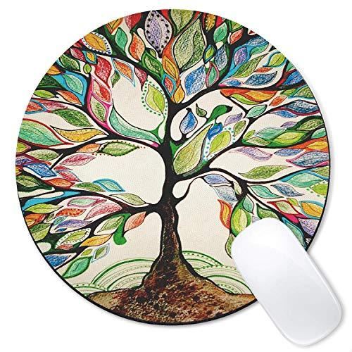 ASDAH Mauspad rund Art Print Mauspad aus Gummi bequem für Laptops