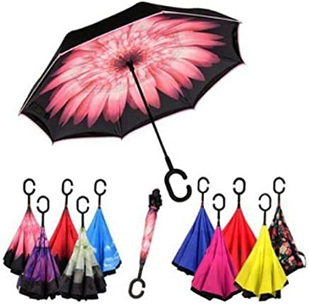 Clomana® Double Layer Foldable Windproof Multi Color Umbrella with C Shape Handle (Pack of 1)