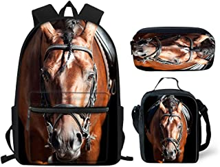 HUGS IDEA Horse Backpack Set for Teen Boys Animal School Bags Bookbag Lunch Box and Pencil Case for Kids