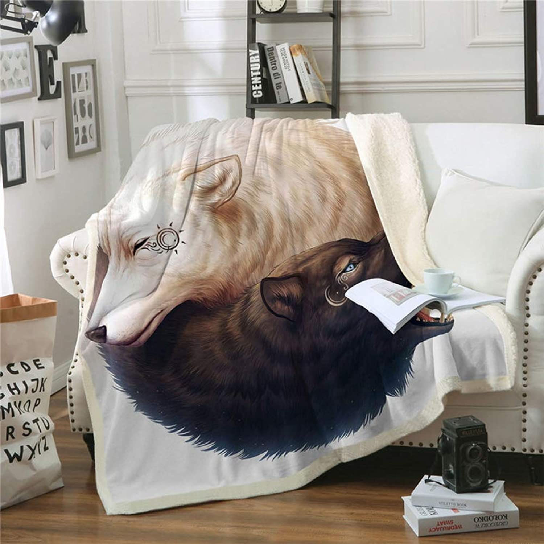 MegOK Yin und Yang Wolves von JoJoesArt Wurfdecke Schwarz und Weiß Dünne Steppdecke Tier 130x150cm Sherpa-Fleece-Betten Decke Manta-Weiß, 150cmx200cm B07K4RC3LR