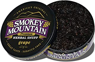 Smokey Mountain Herbal Snuff - Grape - 1-Can - Nicotine-Free and Tobacco-Free - Herbal Snuff - Great Tasting & Refreshing Chewing Tobacco Alternative