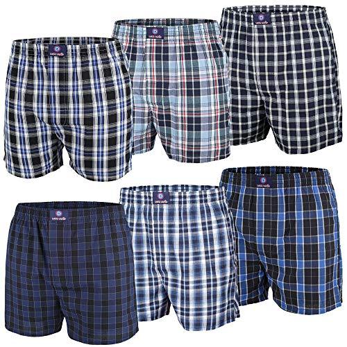 Luca David Boxershorts, Web-Boxer, Shorts, 6 Stück, Blautöne (S)