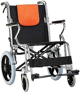 MOREWEY 介助 車椅子 医療リハビリテーション椅子、車椅子、ハンドブレーキ、44cmのシートポータブル軽量折りたたみ探検交通車椅子、22インチリアホイール、ブルー 軽量 折り畳み 自走介助兼用
