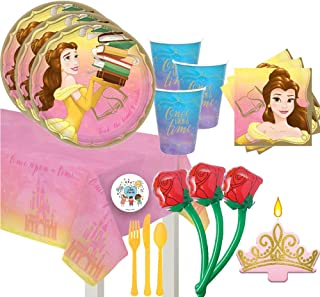 Princess Belle Beauty and the Beast Birthday Party Supplies For 16 With Plates, Cups, Napkins, Tablecover, Candle, 12 Inflatable Roses, and Exclusive Pin
