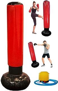 Alomejor Bolsa de Boxeo Inflable Bolsa de Entrenamiento de Fitness Bolso de Torre de perforaci/ón Independiente con Bomba de Pedal inflador de Aire para Ejercicios en Interiores y Exteriores
