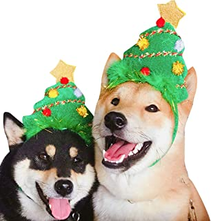 YIGWANG Dog Holiday Christmas Hats for Dogs, Puppy Dog Xmas Tree Shape Hat Reindeer Hat Costume Christmas Dog Headband Head Hoop Christmas Collection Party Ball Pet Accessories