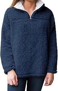 Womens Long Sleeve Sweatshirt Casual Fleece 1/4 Zip Sherpa Pullovers Tops