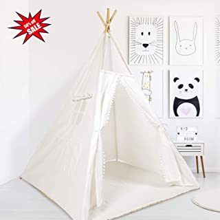 WERTIOO Teepee Tent for Kids +Cotton Mat +Carry Bag,Indian Play Tent for Children Indoor Outdoor 4 Wooden Poles Canvas Tipi White Teepee