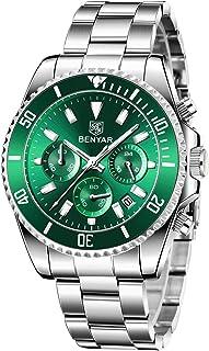 BENYAR Orologio da Uomo Cronografo Movimento al Quarzo Cinturino in Acciaio Inossidabile Impermeabile 30M Green Dail con D...