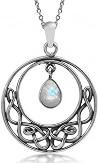 Natural Moonstone 925 Sterling Silver Celtic Knot Drop Dangle Pendant