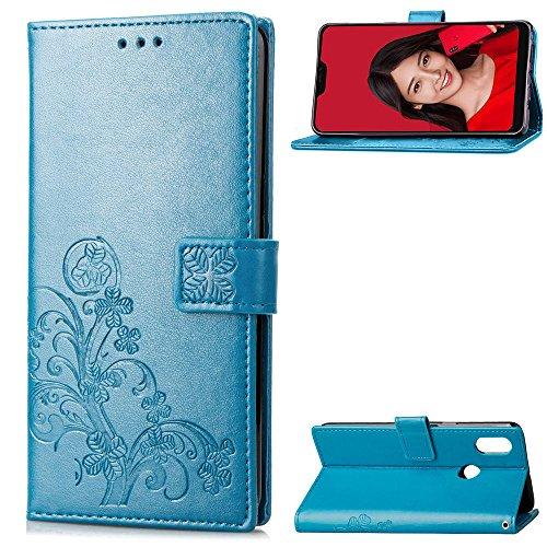 LAGUI Cover Adatto per Xiaomi Mi A2 Lite, Custodia a Portafoglio in fine ed elegante rilievo, con Sportellino Clip Sicurezza Magnetica e Porta Carte e Supporto, e Dotata di Cordino. blu