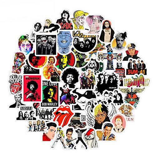 BLOUR 50pcs Rock Roll Musik Retro Band Aufkleber wasserdichte Nirvana Graffiti Gitarre Motorrad Laptop Laptop Skateboard Aufkleber Aufkleber