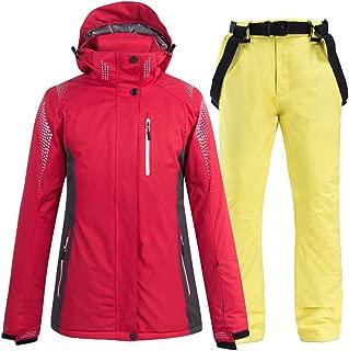 Ddl Ski Suit 2-Piece Winter Ski Suit Waterproof Snowboarding Coverall Snowsuit Take Thickening Warm Jacket/Snow Bib Pant,Yellow,XXL