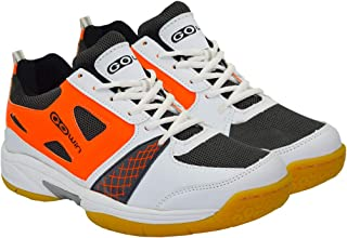 Gowin by Triumph Staunch White/Grey/Orange Badminton Shoes Non Marking Sole