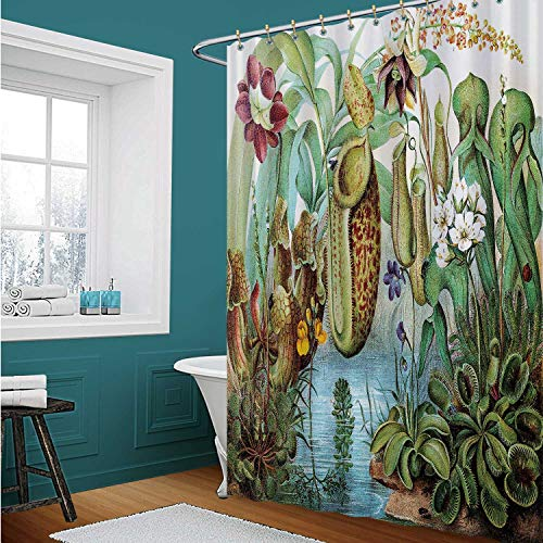 ALUONI Venus Fly Trap FlytrapShower Curtains Set with Hooks Carnivorous Plant for Bathroom 72X72In