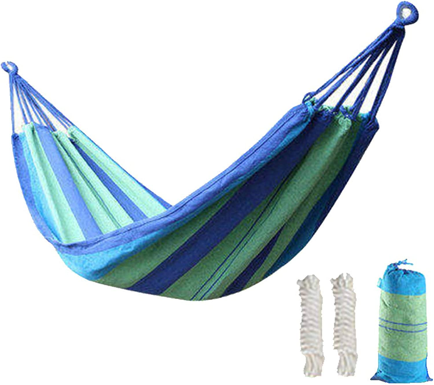 CUUYQ Double Camping Hammock, Portable Hammocks with Travel Bag Camping Travel Hammocks Includes Nylon Straps for Outdoor Indoor,blueee_200x100cm 200KG