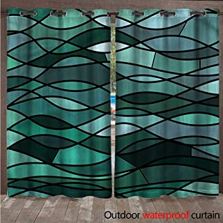 cobeDecor Teal Home Patio Outdoor Curtain Mosaic Sea Waves Inspired W96 x L96(245cm x 245cm)