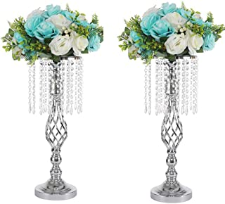 LANLONG 2PCS Acrylic Imitation Crystal Candle Holder Stand Gold/Silver Flower Vase Wedding Centerpiece Lead Road Candlestick for Wedding Event Decoration (silver-52cm, 20.4