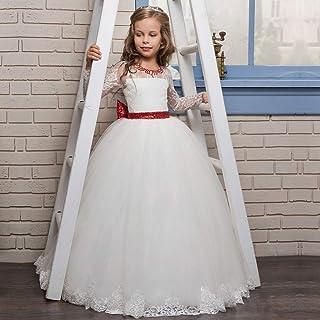 子供の女の子のドレス 小さな女の子の赤いビーズのレースのドレス長袖のドレスの女の子の花嫁介添人ドレス美容ページェントドレス年齢2-13Y 女の子のパーティーウェディングブライドメイドの王女のドレス (サイズ : 10-11T)