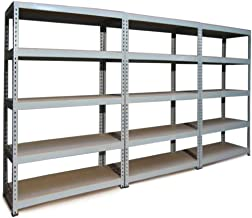3 x Q-Rax Stellingkasten - 120cm x 50cm x 180cm per rek - Grijs - 100% boutloos - Draagkracht: 200 kg per plank - opbergre...