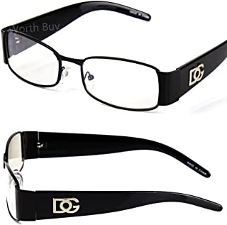 44a6025880ba Mens Women DG Clear Lens Frame Eye Glasses Rectangular Fashion Nerd Designer
