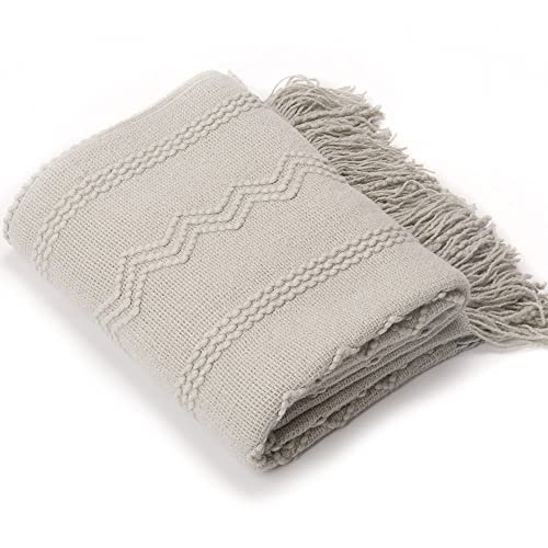 "Battilo Throw Blanket Textured Solid Soft for Sofa Couch Cover Decorative Knitted Blanket, 50"" x 60"" (Light Grey)"