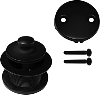 Westbrass Twist & Close Tub Trim Set with Two-Hole Overflow Faceplate, Matte Black, D94-2-62