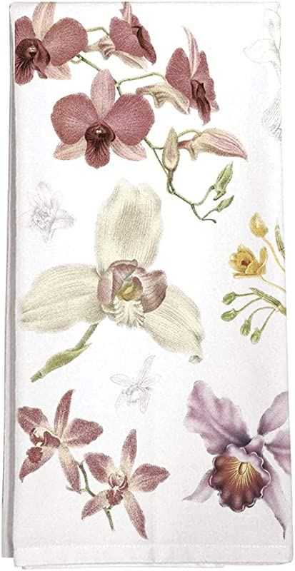 Montgomery Street Scattered Orchids Cotton Flour Sack Dish Towel