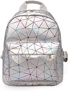 Asdfnfa Backpack, Women Geometric Backpack Lingge Laser School Backpack,Holographic Reflective Shoulder Bags Travel College Rucksack (Color : Silver)