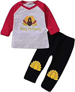 YOUNGER TREE Thanksgiving Kids Toddler Baby Boys Girls Fall Outfit Turkey Print Sweatshirt Shirt+Pants 2Pc Winter Clothes Set