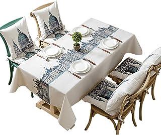 مفرش المائدة الأبيض، غطاء طاولة من القطن والكتان مضاد لتلاشي اللون ومضاد للبكتيريا ومضاد للتجاعيد قابل للغسل لطاولة الطعام...