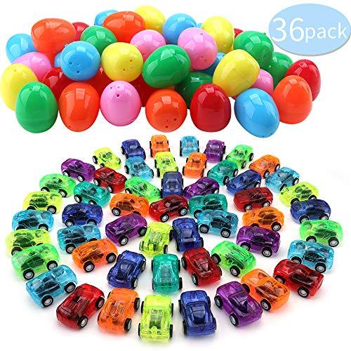 Amy&Benton Uova di Pasqua Giocattolo,36 Pezzi Mini Pull Back Veicoli, Bambini, Riempitrici di Sacchetti per Feste di Compleanno Car