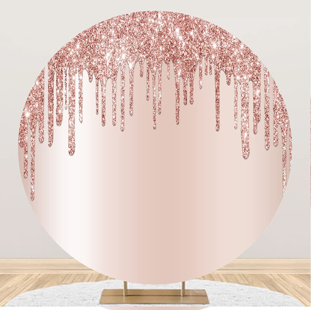 Leowefowa Luxurious Rosegold Glittering Round Product A surprise price is realized Backdrop 6.5x6.5ft