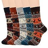Mens Warm Wool Socks Soft Long Cozy Socks for Fall Winter Cashmere Athletic Crew Socks for Men B (5/Christmas Deer)