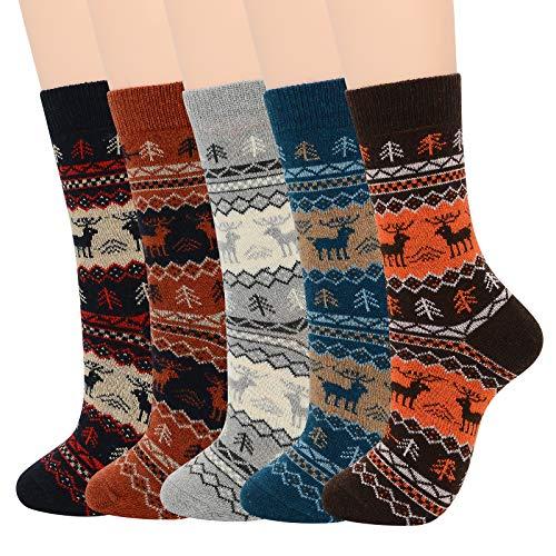 Mens Warm Socks Soft Wool Cozy Christmas Socks for Fall Winter Cute Animal Cashmere Athletic Crew Socks for Men B (5/Christmas Deer)